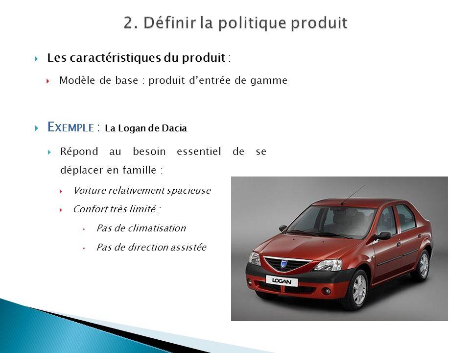 Les caractéristiques du produit : Modèle de base : produit dentrée de gamme E XEMPLE : La Logan de Dacia Répond au besoin essentiel de se déplacer en
