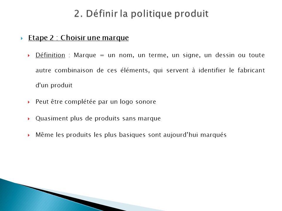 Etape 2 : Choisir une marque Définition : Marque = un nom, un terme, un signe, un dessin ou toute autre combinaison de ces éléments, qui servent à ide