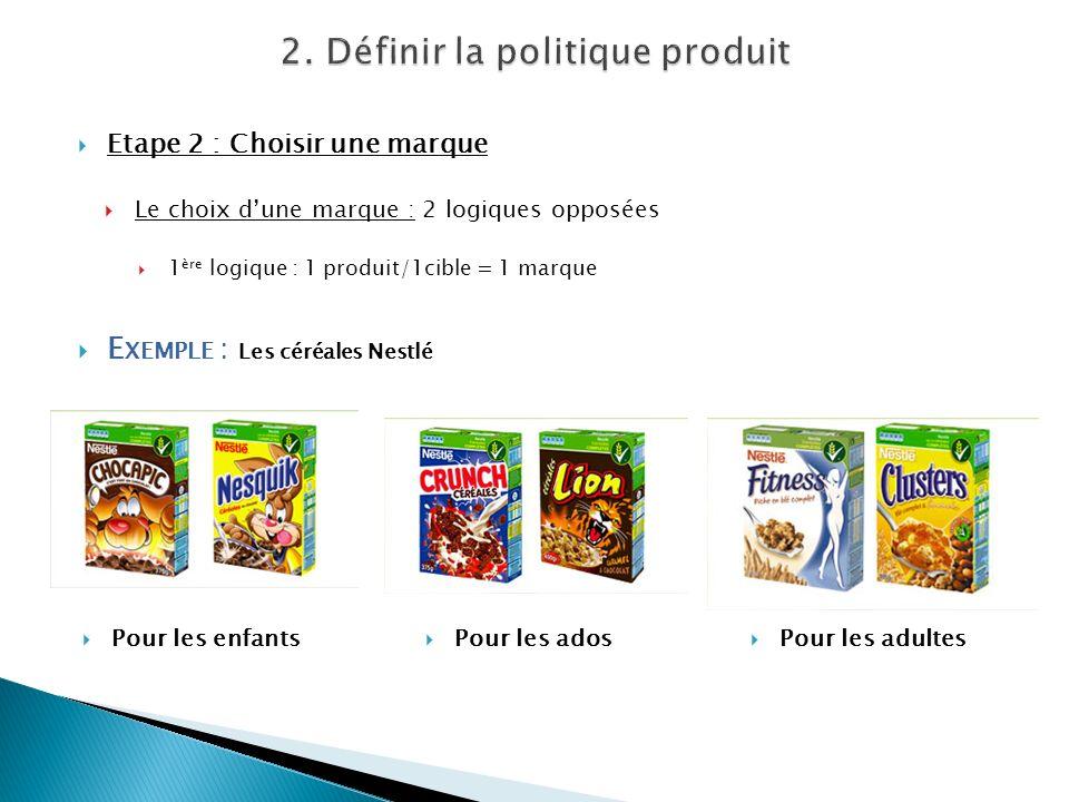 Etape 2 : Choisir une marque Le choix dune marque : 2 logiques opposées 1 ère logique : 1 produit/1cible = 1 marque E XEMPLE : Les céréales Nestlé Pou