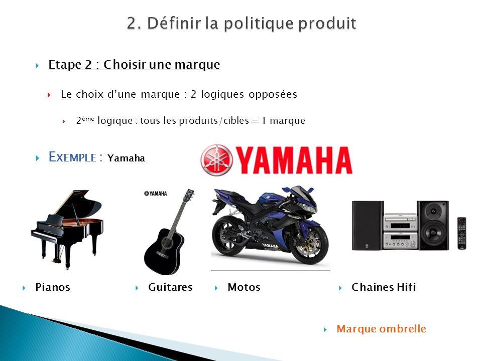 Etape 2 : Choisir une marque Le choix dune marque : 2 logiques opposées 2 ème logique : tous les produits/cibles = 1 marque E XEMPLE : Yamaha Pianos M