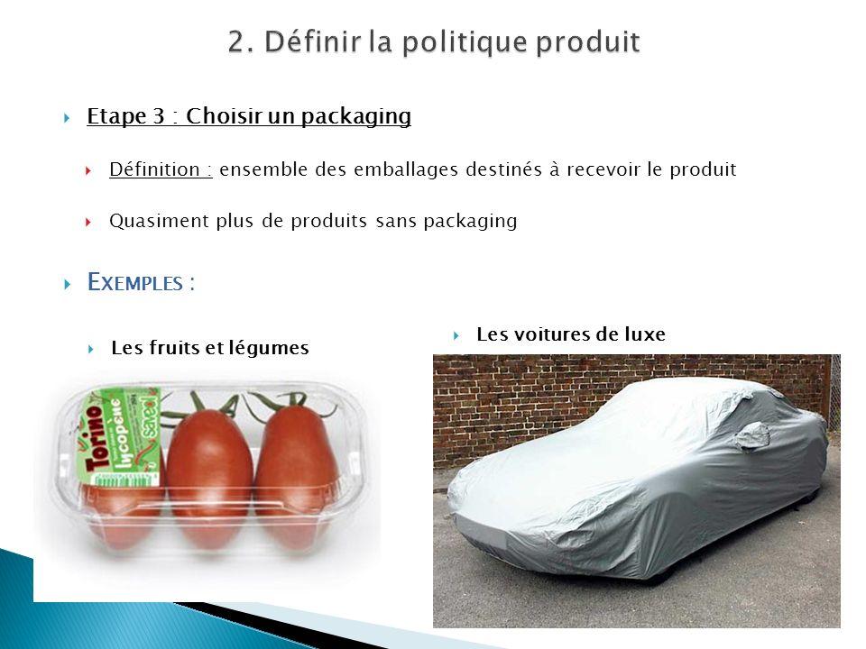 Etape 3 : Choisir un packaging Définition : ensemble des emballages destinés à recevoir le produit Quasiment plus de produits sans packaging E XEMPLES