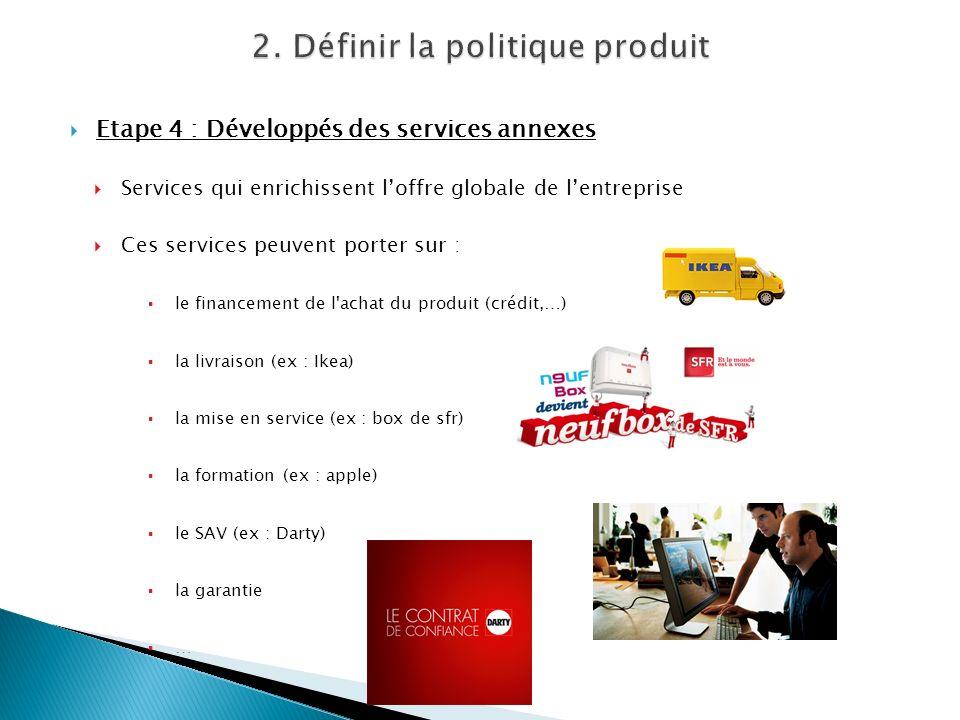 Etape 4 : Développés des services annexes Services qui enrichissent loffre globale de lentreprise Ces services peuvent porter sur : le financement de