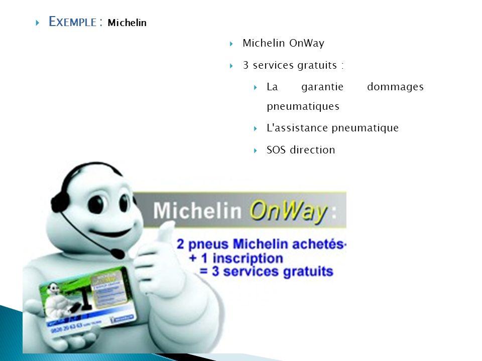 E XEMPLE : Michelin Michelin OnWay 3 services gratuits : La garantie dommages pneumatiques L'assistance pneumatique SOS direction