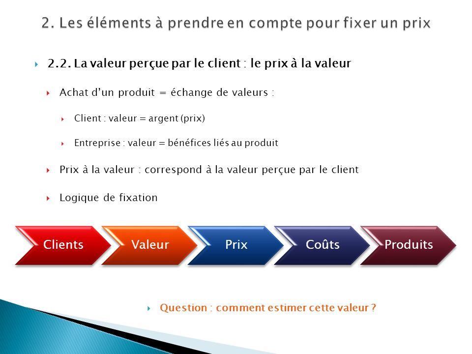 2.2. La valeur perçue par le client : le prix à la valeur Achat dun produit = échange de valeurs : Client : valeur = argent (prix) Entreprise : valeur