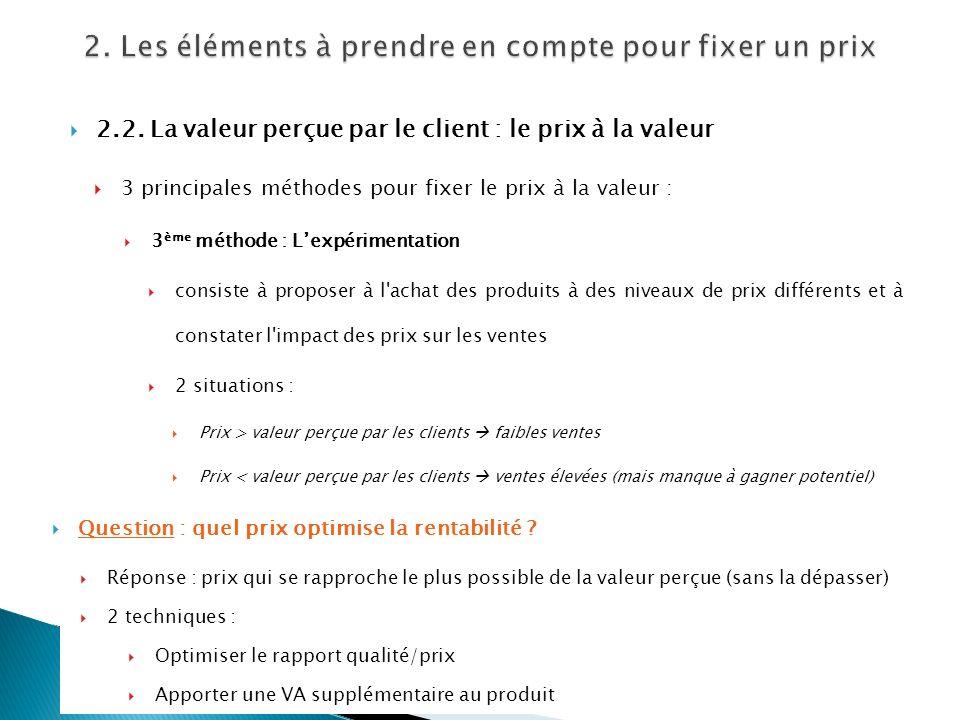 2.2. La valeur perçue par le client : le prix à la valeur 3 principales méthodes pour fixer le prix à la valeur : 3 ème méthode : Lexpérimentation con