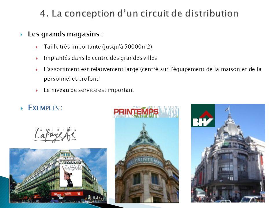 Les grands magasins : Taille très importante (jusqu'à 50000m2) Implantés dans le centre des grandes villes L'assortiment est relativement large (centr