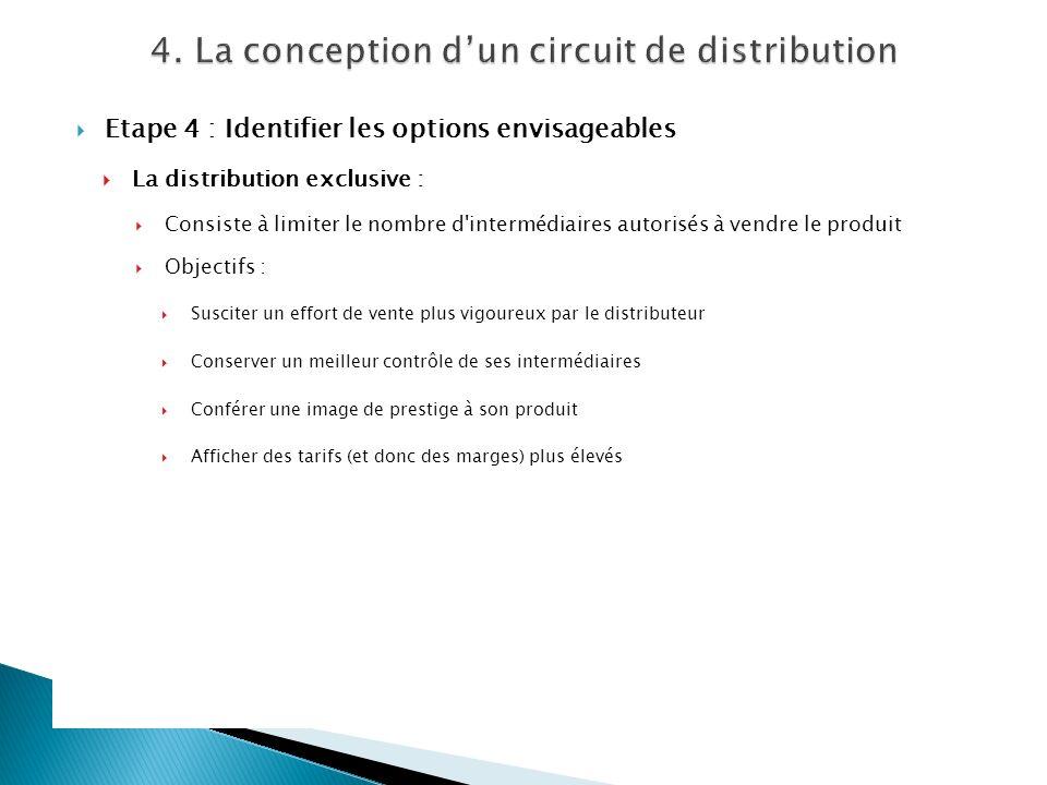 Etape 4 : Identifier les options envisageables La distribution exclusive : Consiste à limiter le nombre d'intermédiaires autorisés à vendre le produit