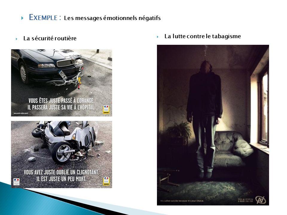 E XEMPLE : Les messages émotionnels négatifs La sécurité routière La lutte contre le tabagisme