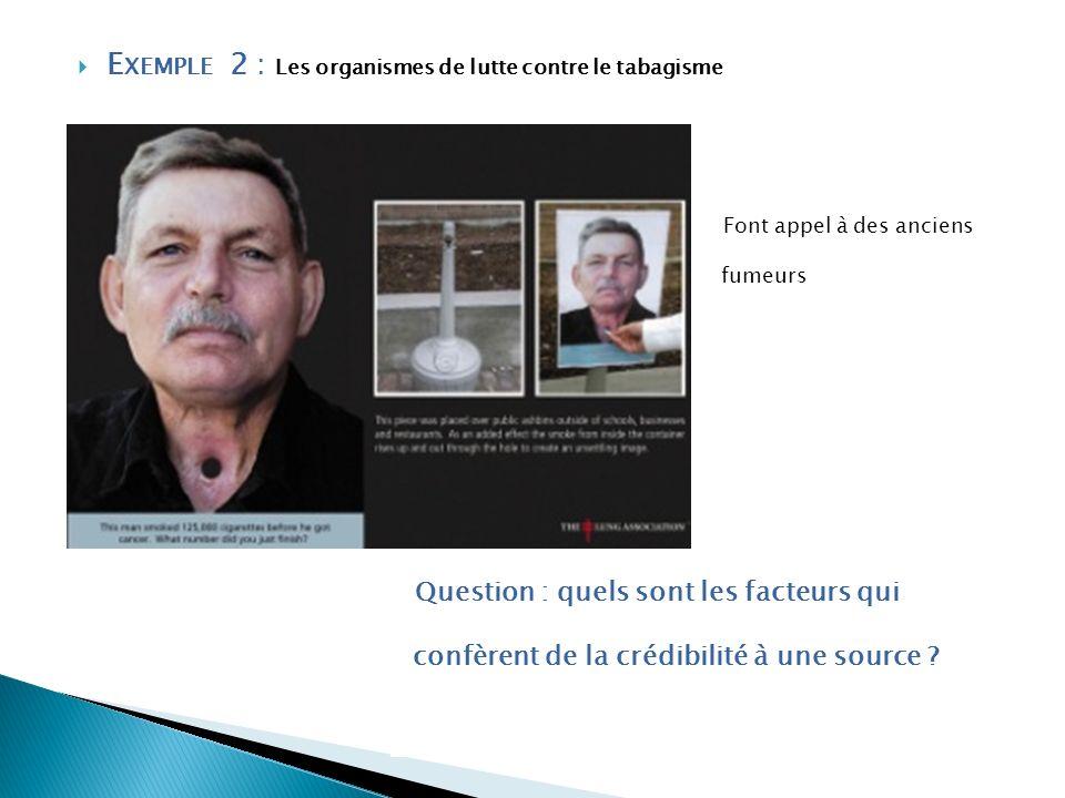 E XEMPLE 2 : Les organismes de lutte contre le tabagisme Font appel à des anciens fumeurs Question : quels sont les facteurs qui confèrent de la crédi