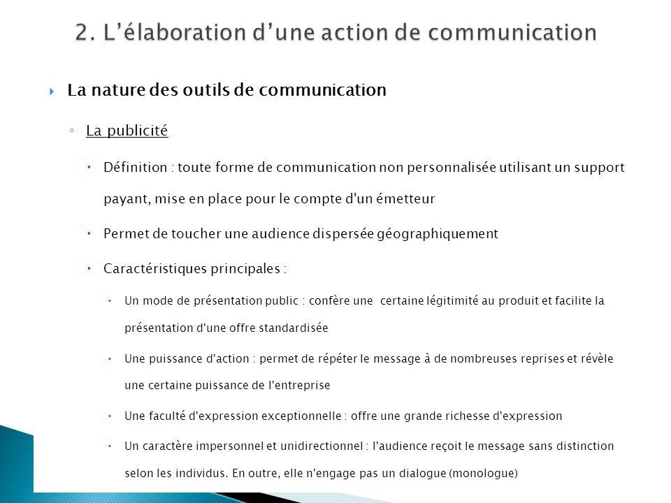 La nature des outils de communication La publicité Définition : toute forme de communication non personnalisée utilisant un support payant, mise en pl