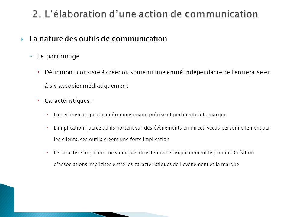 La nature des outils de communication Le parrainage Définition : consiste à créer ou soutenir une entité indépendante de l'entreprise et à s'y associe