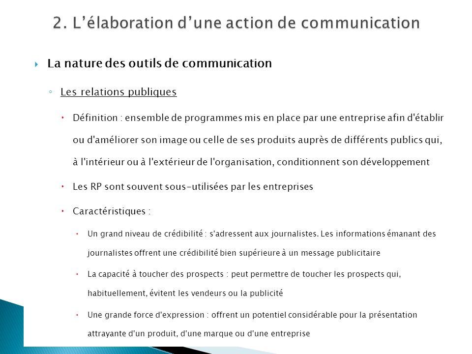 La nature des outils de communication Les relations publiques Définition : ensemble de programmes mis en place par une entreprise afin d'établir ou d'