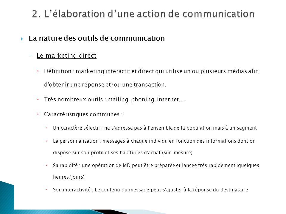 La nature des outils de communication Le marketing direct Définition : marketing interactif et direct qui utilise un ou plusieurs médias afin d'obteni