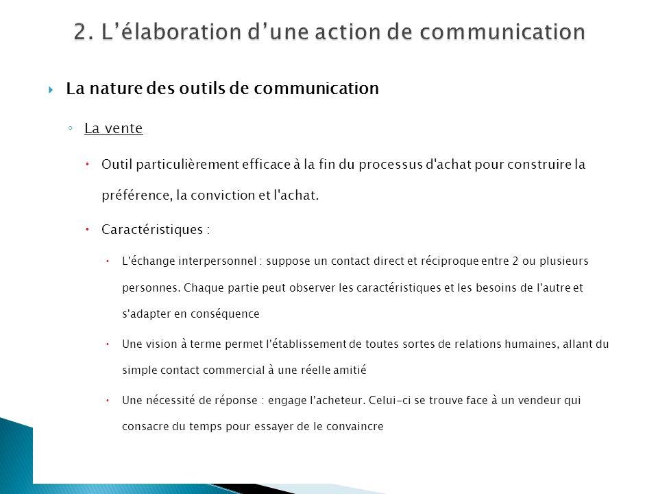 La nature des outils de communication La vente Outil particulièrement efficace à la fin du processus d'achat pour construire la préférence, la convict