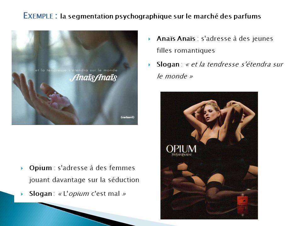 E XEMPLE : la segmentation psychographique sur le marché des parfums Anaïs Anaïs : s'adresse à des jeunes filles romantiques Slogan : « et la tendress