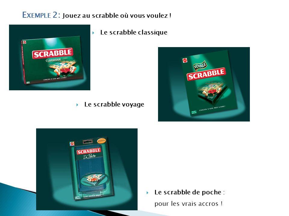 E XEMPLE 2: Jouez au scrabble où vous voulez ! Le scrabble classique Le scrabble voyage Le scrabble de poche : pour les vrais accros !