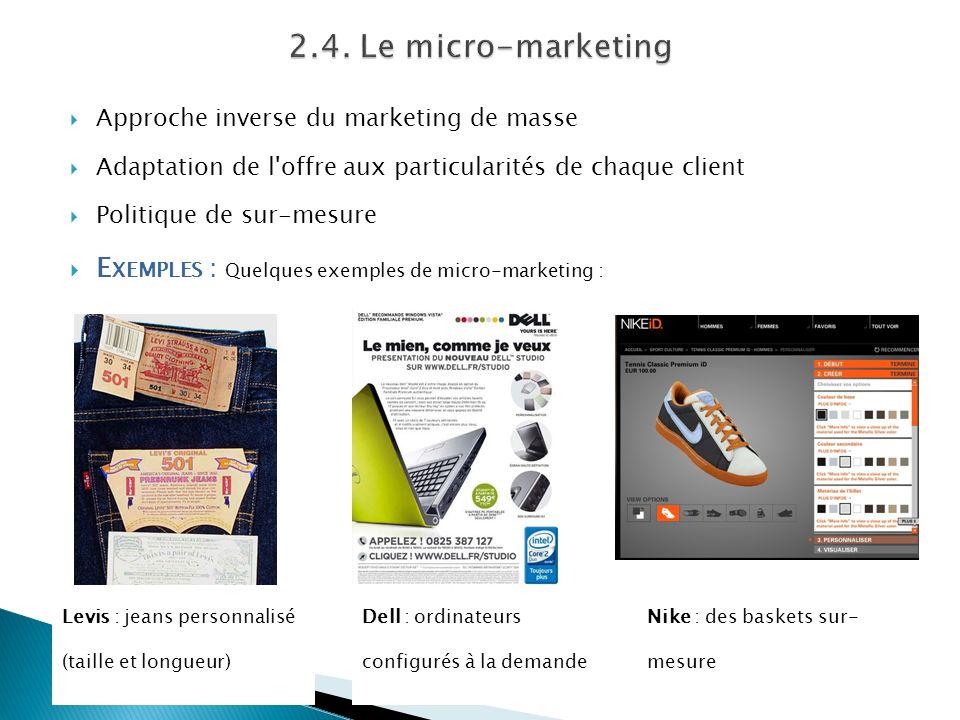 Approche inverse du marketing de masse Adaptation de l'offre aux particularités de chaque client Politique de sur-mesure E XEMPLES : Quelques exemples