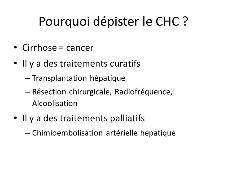 Pourquoi dépister le CHC ? Cirrhose = cancer Il y a des traitements curatifs – Transplantation hépatique – Résection chirurgicale, Radiofréquence, Alc