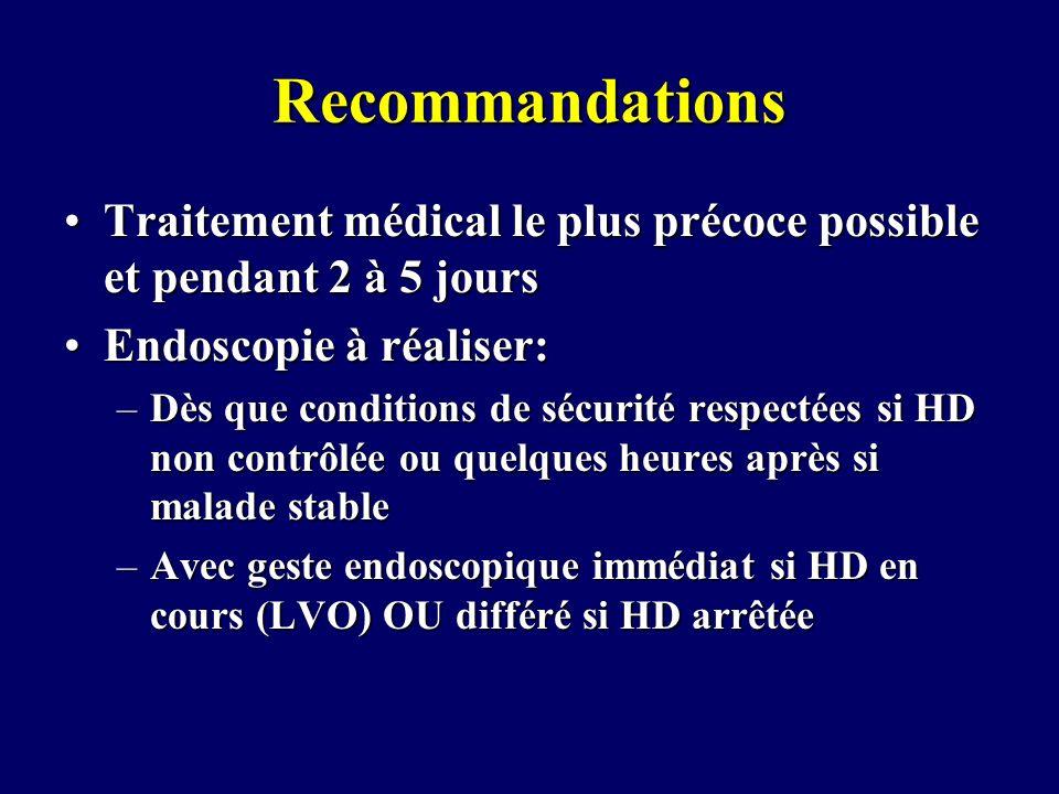 Recommandations Traitement médical le plus précoce possible et pendant 2 à 5 joursTraitement médical le plus précoce possible et pendant 2 à 5 jours E