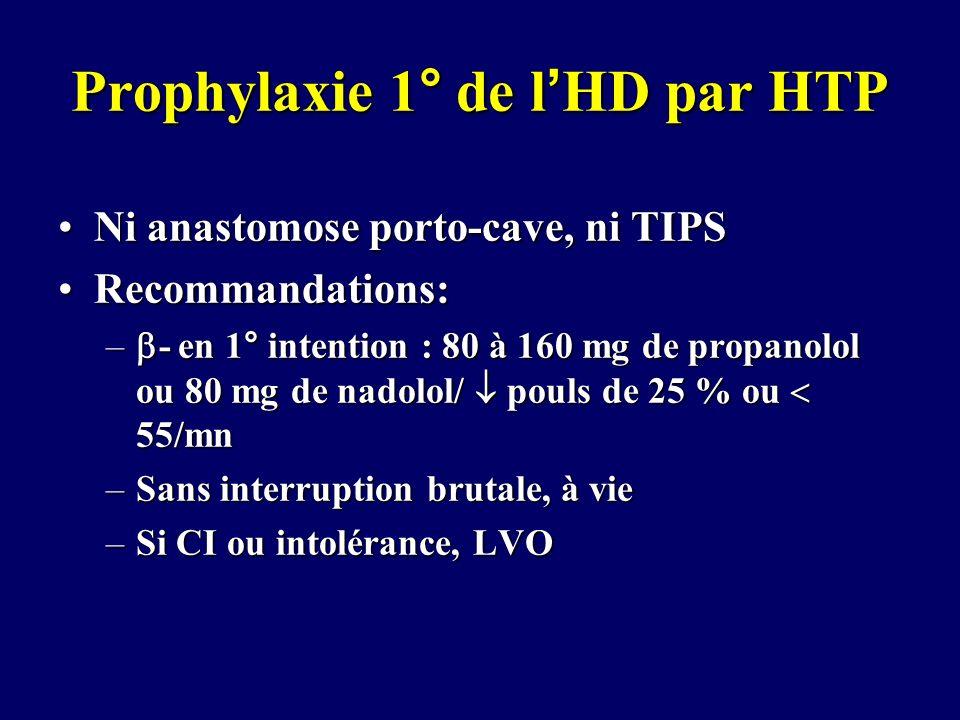 Prophylaxie 1° de lHD par HTP Ni anastomose porto-cave, ni TIPSNi anastomose porto-cave, ni TIPS Recommandations:Recommandations: – - en 1° intention