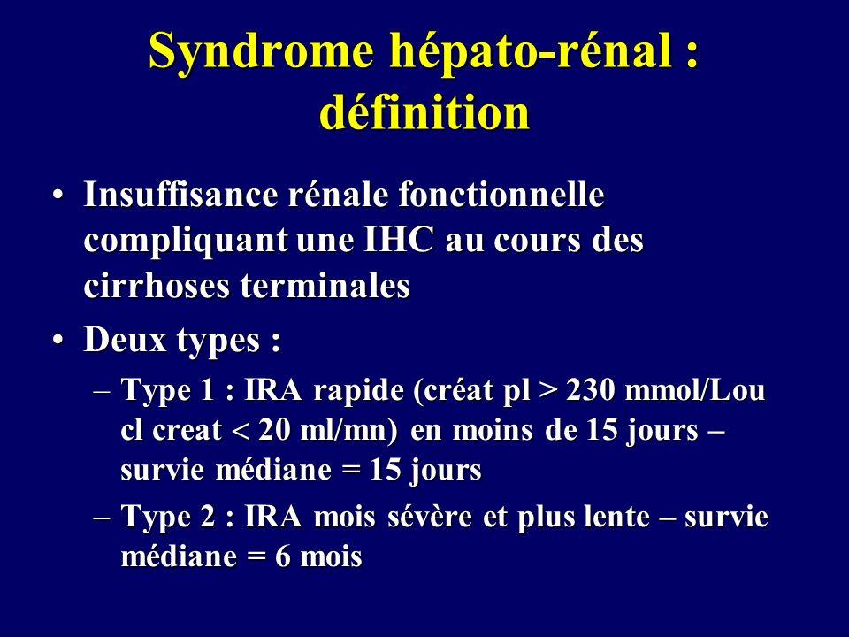 Syndrome hépato-rénal : définition Insuffisance rénale fonctionnelle compliquant une IHC au cours des cirrhoses terminalesInsuffisance rénale fonction