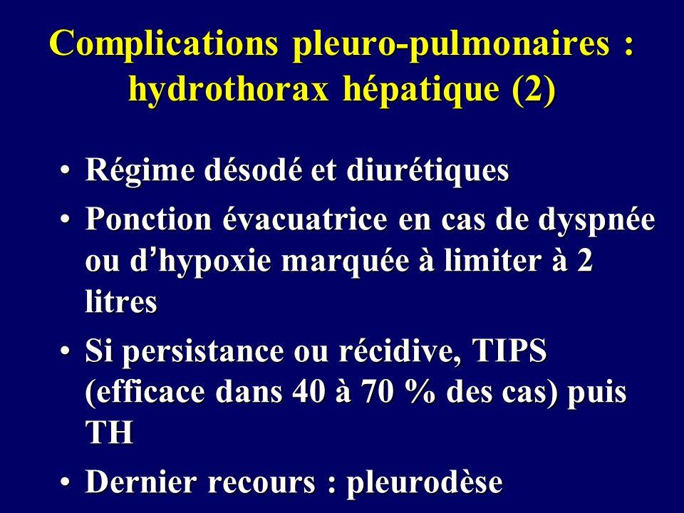 Complications pleuro-pulmonaires : hydrothorax hépatique (2) Régime désodé et diurétiquesRégime désodé et diurétiques Ponction évacuatrice en cas de d