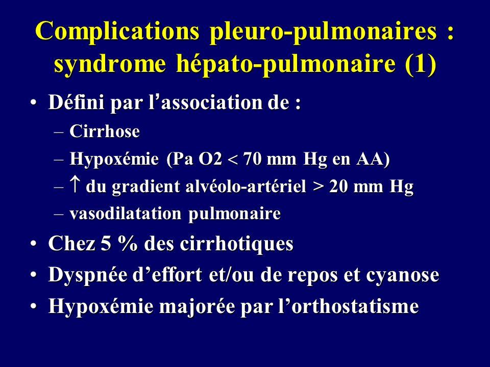 Complications pleuro-pulmonaires : syndrome hépato-pulmonaire (1) Défini par lassociation de :Défini par lassociation de : –Cirrhose –Hypoxémie (Pa O2