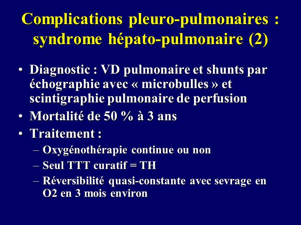 Complications pleuro-pulmonaires : syndrome hépato-pulmonaire (2) Diagnostic : VD pulmonaire et shunts par échographie avec « microbulles » et scintig