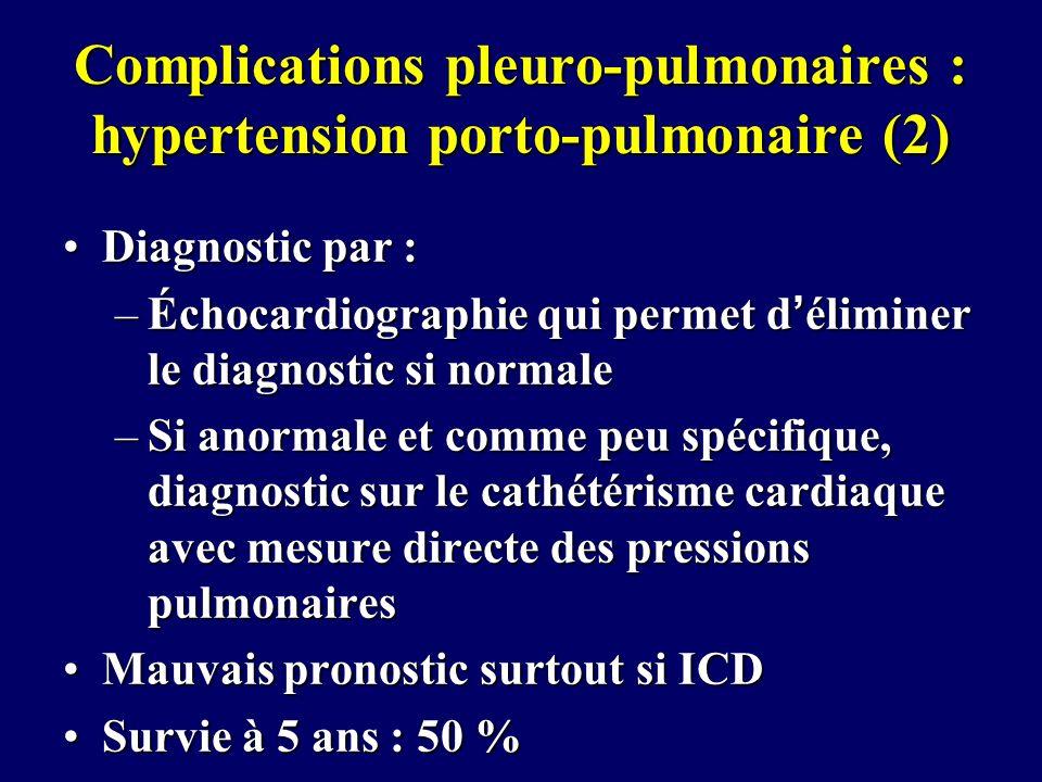 Complications pleuro-pulmonaires : hypertension porto-pulmonaire (2) Diagnostic par :Diagnostic par : –Échocardiographie qui permet déliminer le diagn