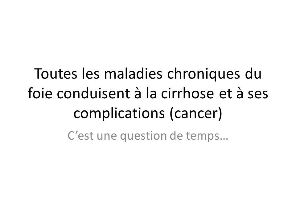 Toutes les maladies chroniques du foie conduisent à la cirrhose et à ses complications (cancer) Cest une question de temps…