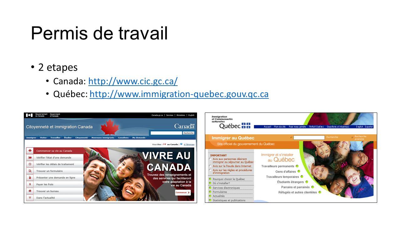 Permis de travail 2 etapes Canada: http://www.cic.gc.ca/http://www.cic.gc.ca/ Québec: http://www.immigration-quebec.gouv.qc.cahttp://www.immigration-q