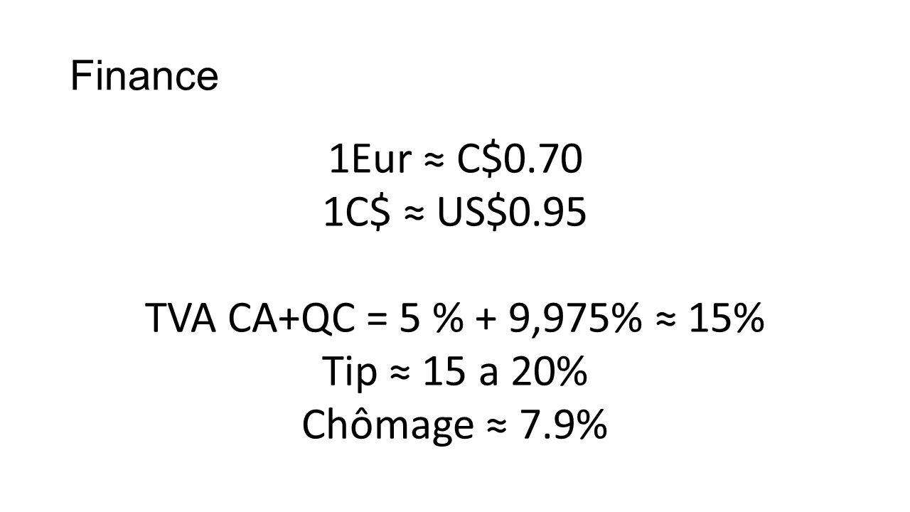 Finance 1Eur C$0.70 1C$ US$0.95 TVA CA+QC = 5 % + 9,975% 15% Tip 15 a 20% Chômage 7.9%