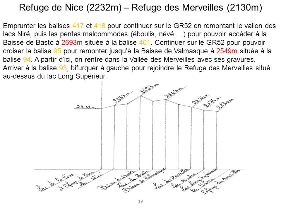 Refuge de Nice (2232m) – Refuge des Merveilles (2130m) Emprunter les balises 417 et 418 pour continuer sur le GR52 en remontant le vallon des lacs Nir