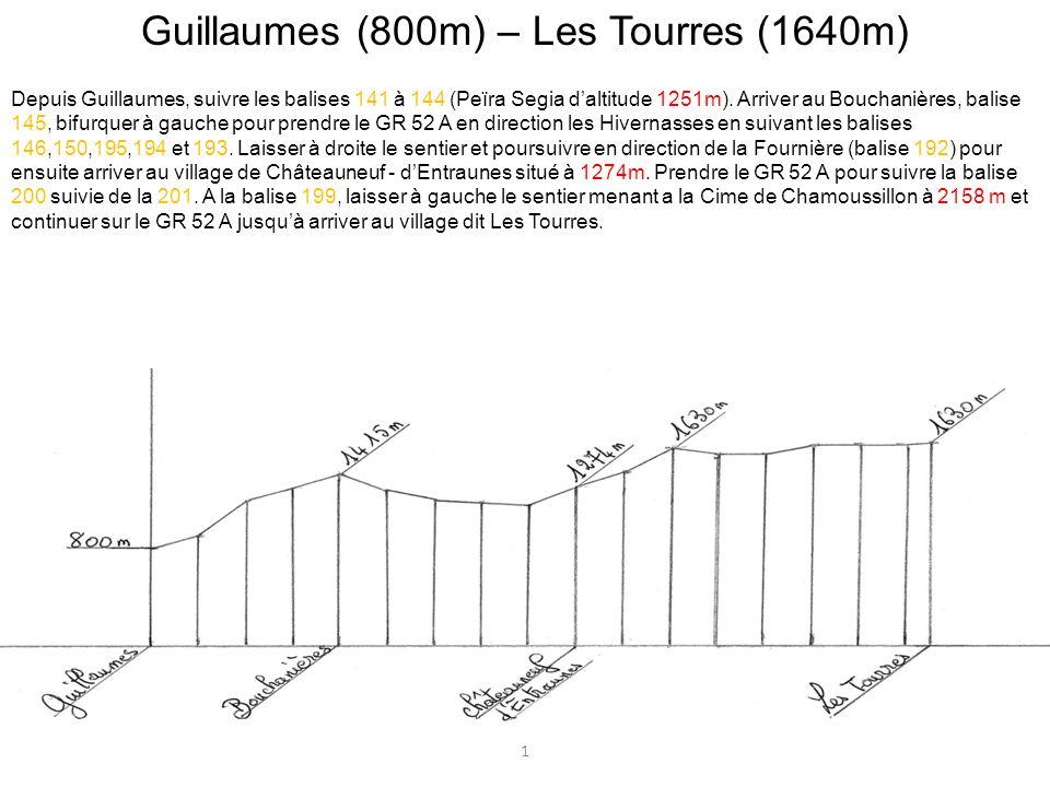 Guillaumes (800m) – Les Tourres (1640m) Depuis Guillaumes, suivre les balises 141 à 144 (Peïra Segia daltitude 1251m). Arriver au Bouchanières, balise