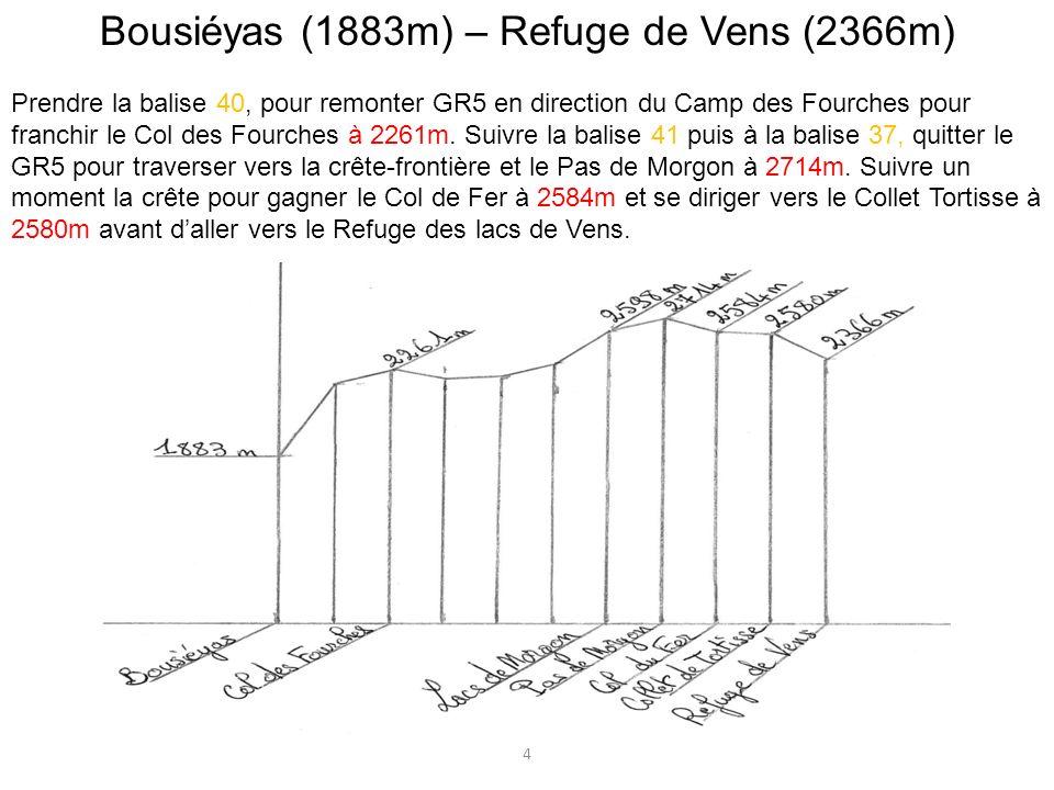 Bousiéyas (1883m) – Refuge de Vens (2366m) Prendre la balise 40, pour remonter GR5 en direction du Camp des Fourches pour franchir le Col des Fourches