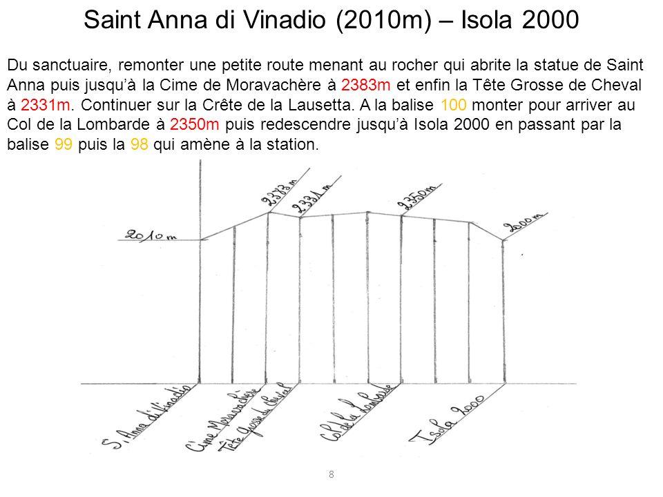Saint Anna di Vinadio (2010m) – Isola 2000 Du sanctuaire, remonter une petite route menant au rocher qui abrite la statue de Saint Anna puis jusquà la