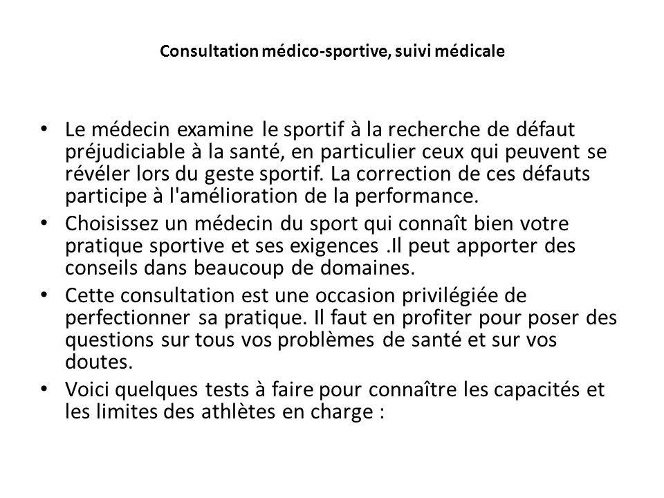 Consultation médico-sportive, suivi médicale Le médecin examine le sportif à la recherche de défaut préjudiciable à la santé, en particulier ceux qui