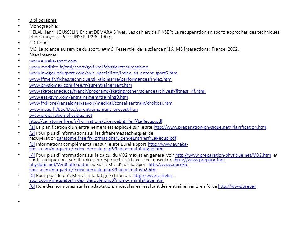 Bibliographie Monographie: HELAL Henri, JOUSSELIN Éric et DEMARAIS Yves. Les cahiers de l'INSEP: La récupération en sport: approches des techniques et
