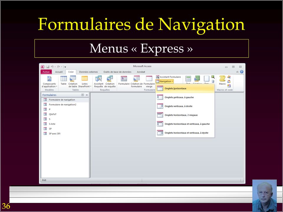 Bouton de commande En général, lancé automatiquement par la commande « Démarrage » y associée pendant la création du formulaire