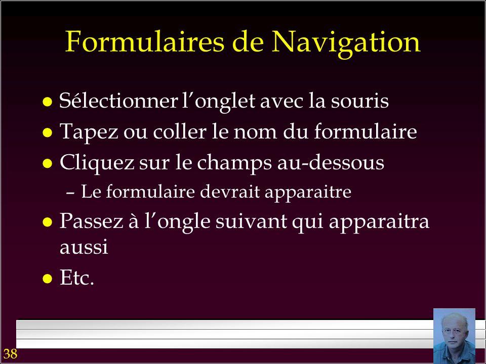 37 Formulaires de Navigation Résultat