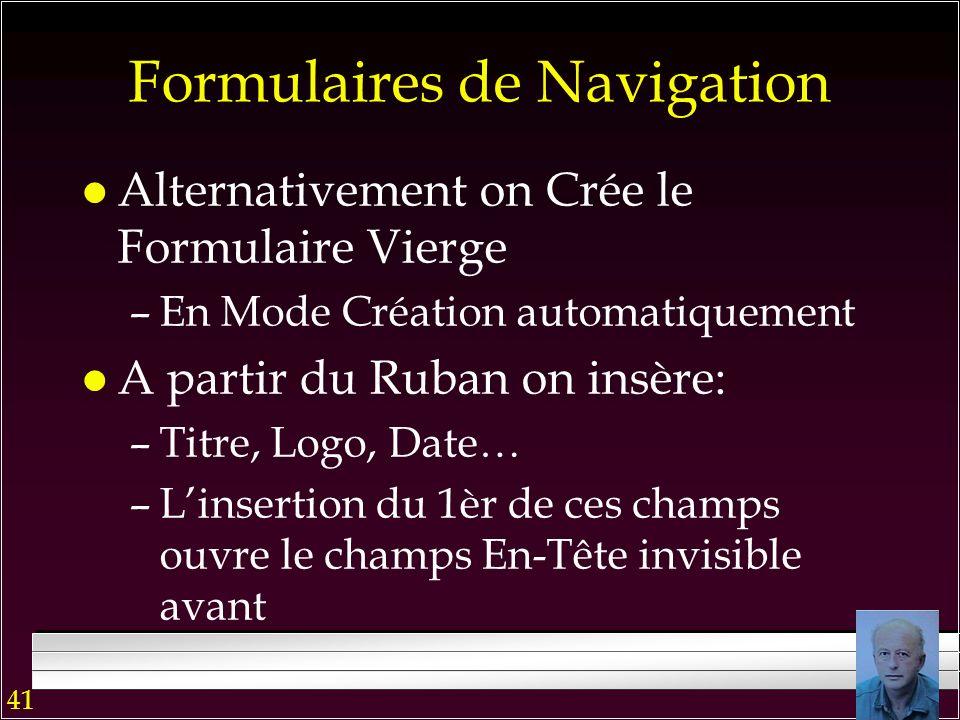 40 Formulaires de Navigation Le formulaire Quantité présente une requête graphique