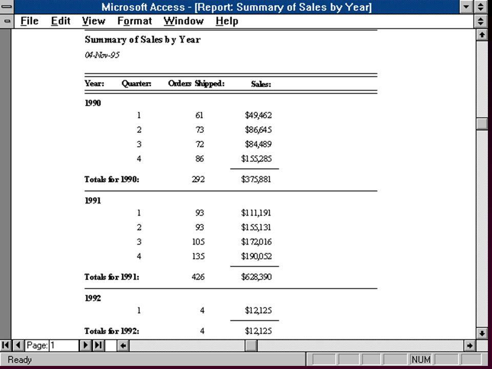 68 Générateurs de Rapports l Formulaires pour le papier –Rapports simples: auto-rapports –Rapports élaborés l Programmation d aspects non-SQL –manipulation de pages –valeurs agrégat par page »total en bas de page