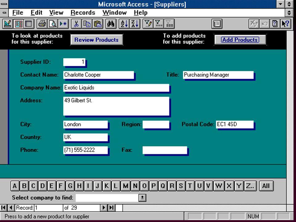 74 l Assistants (ang.Wizards) –pour créer les tables, formulaires, graphiques, rapports...