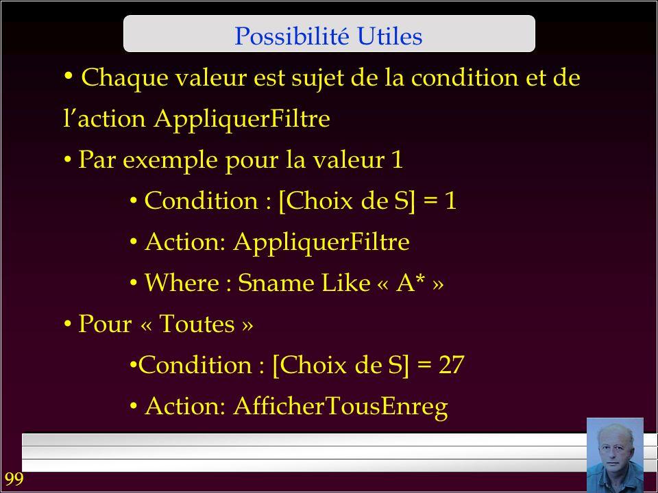 98 Possibilité Utiles On peut créer les boutons « groupe doption » Par ex. [Choix de S] pour filtrer S sur la 1 ère lettre Le groupe montre les bouton