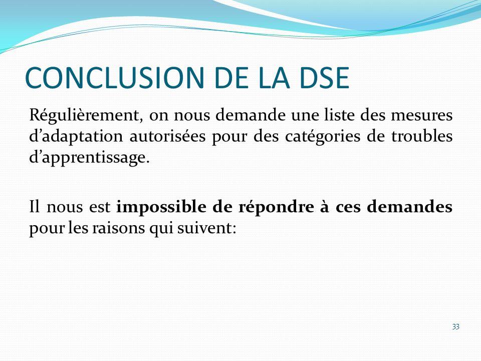 CONCLUSION DE LA DSE Régulièrement, on nous demande une liste des mesures dadaptation autorisées pour des catégories de troubles dapprentissage. Il no