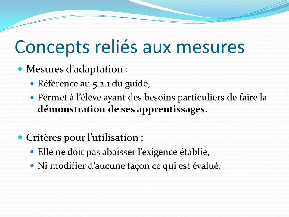 Concepts reliés aux mesures Mesures dadaptation : Référence au 5.2.1 du guide, Permet à lélève ayant des besoins particuliers de faire la démonstratio