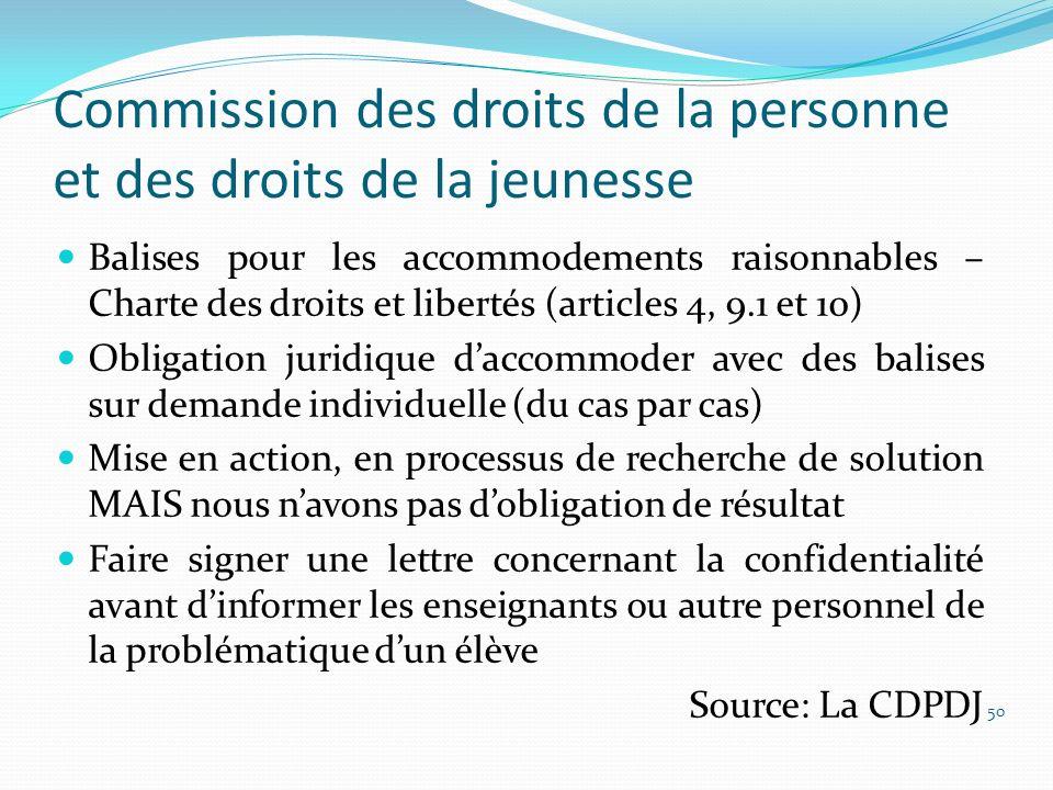 Commission des droits de la personne et des droits de la jeunesse Balises pour les accommodements raisonnables – Charte des droits et libertés (articl