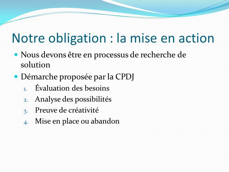Notre obligation : la mise en action Nous devons être en processus de recherche de solution Démarche proposée par la CPDJ 1. Évaluation des besoins 2.
