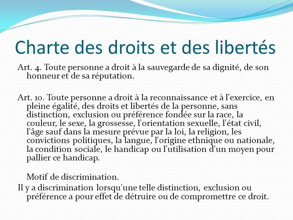 Charte des droits et des libertés Art. 4. Toute personne a droit à la sauvegarde de sa dignité, de son honneur et de sa réputation. Art. 10. Toute per