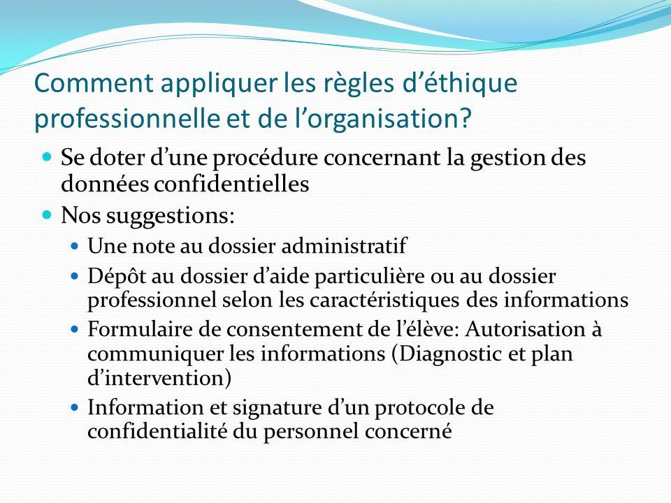 Comment appliquer les règles déthique professionnelle et de lorganisation? Se doter dune procédure concernant la gestion des données confidentielles N